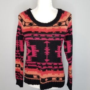 Roxy Pink & Black Tribal Knit Sweater Sz Small